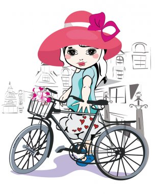 Sketch of a cute little girl with a bicycle at the street