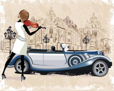 Street Musicians and retro cars