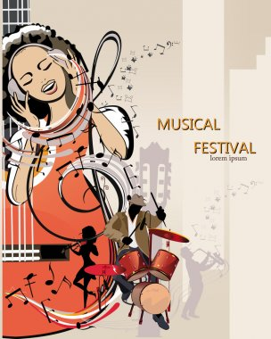 Abstract musical background with a girl