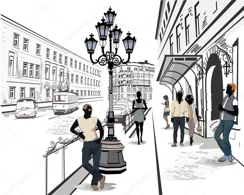 ミュージシャンと旧市街で通行人通りのシリーズ ストックベクター