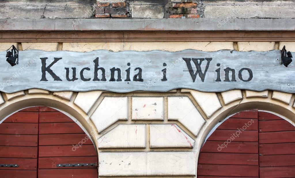 Vintage Szyld Restauracji Kuchnia I Wino Kazimierz Rejonowy