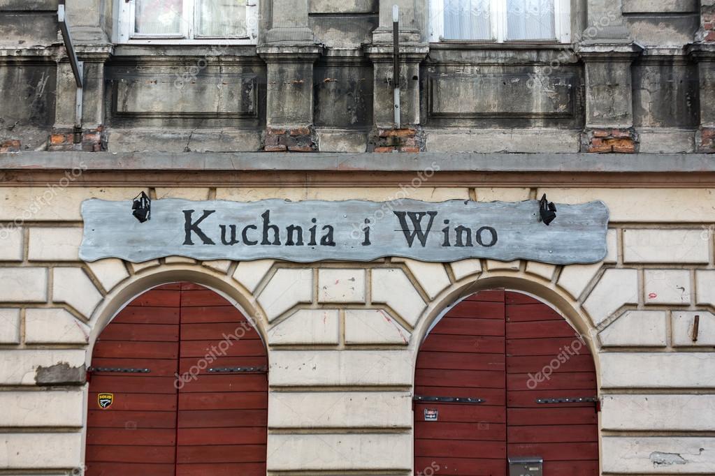 Vintage Signboard Restaurant Kuchnia I Wino In Kazimierz
