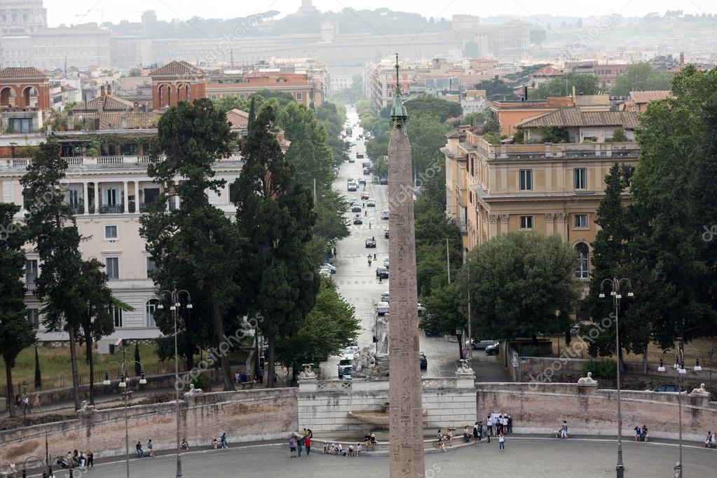 Piazza Del Popolo And Via Flaminia Seen From Pincio Terrace