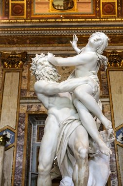 baroque marble sculptural group by Italian artist Gian Lorenzo Bernini, Rape of Proserpine in Galleria Borghese, Rome, Italy