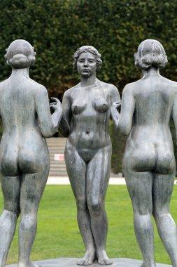 Paris -  Bronze sculpture The Three Nymphs  by Aristide Maillol in Tuileries garden