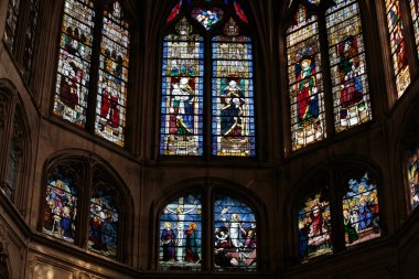 Stained glass window in the Church of Saint-Severin is a Roman Catholic church in the Latin Quarter of Paris, France