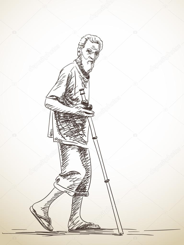 Sketch of walking old man stock vector