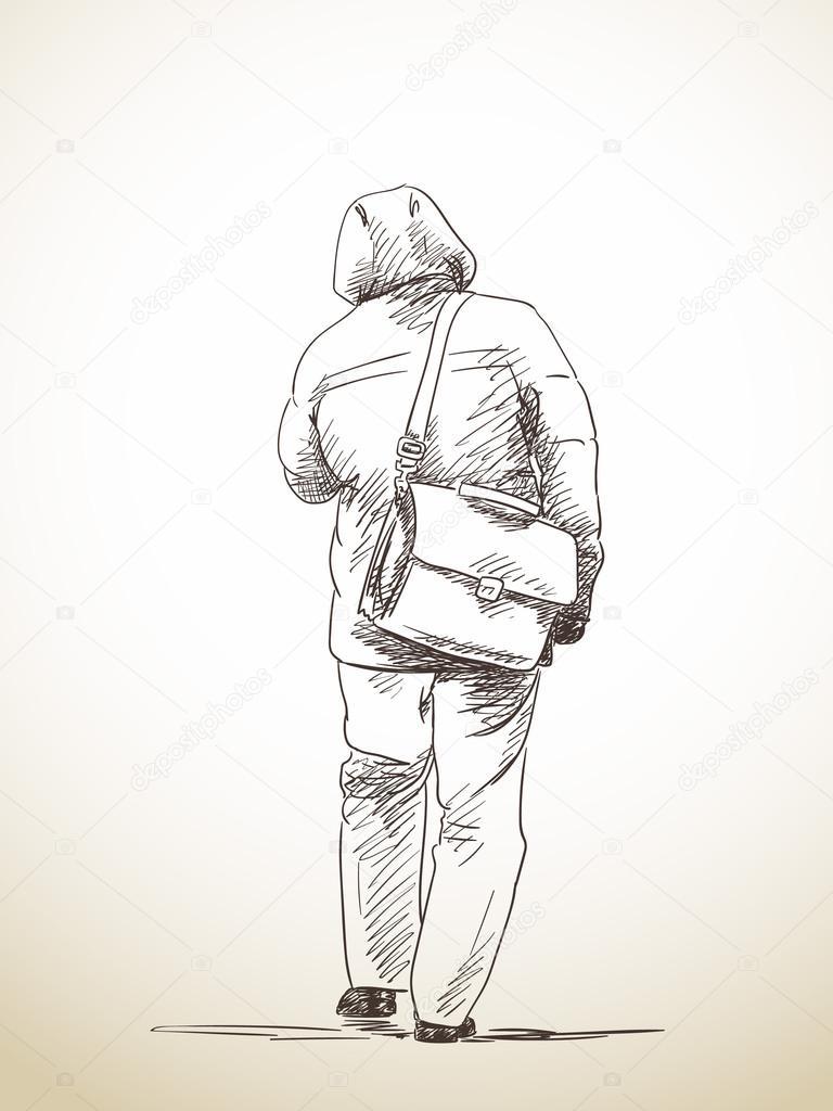 Skizze des Gehens Mann — Stockvektor © OlgaTropinina #113957408