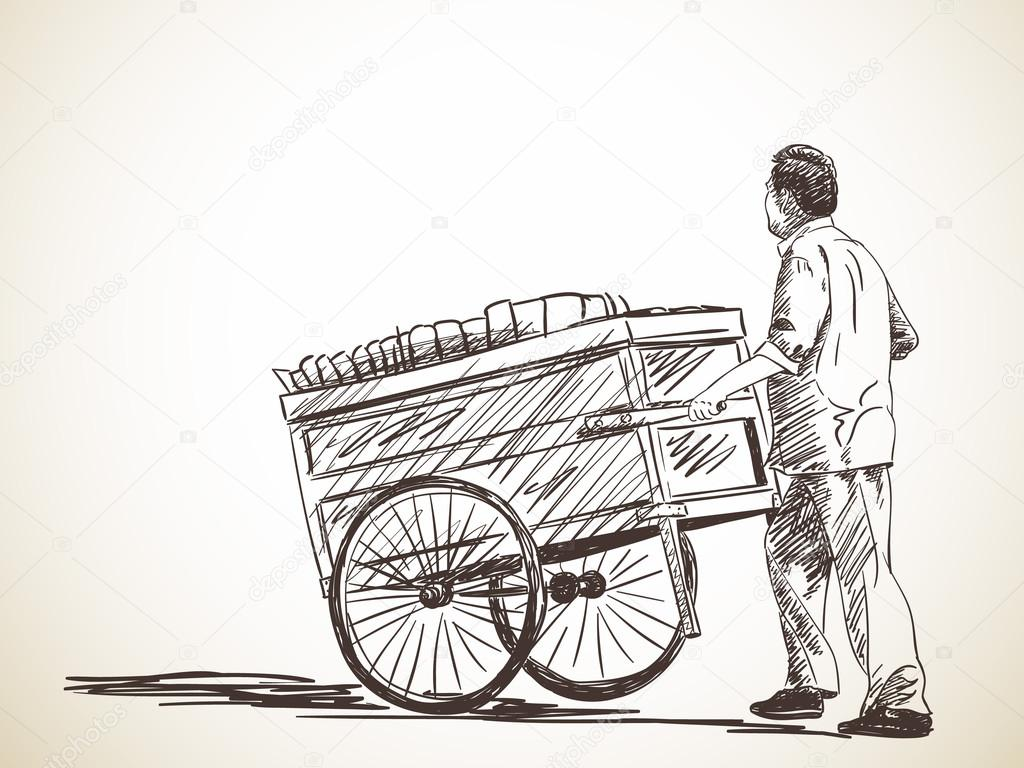 Sketch of hawker with cart — Stock Vector © OlgaTropinina ...