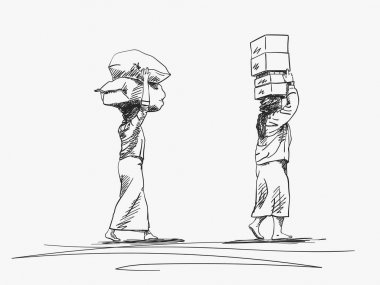 Two burmese women are carrying big loads on their heads, Vector sketch with crosshatched shades, Hand drawn illustration