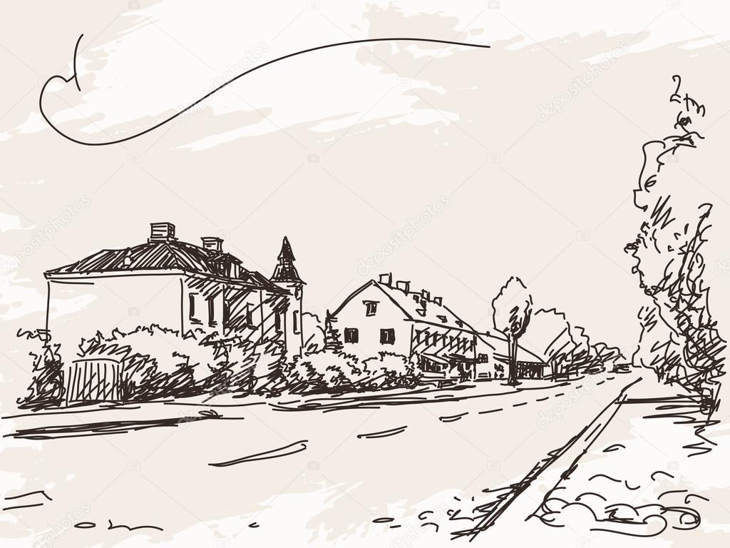 Town house and road sketch