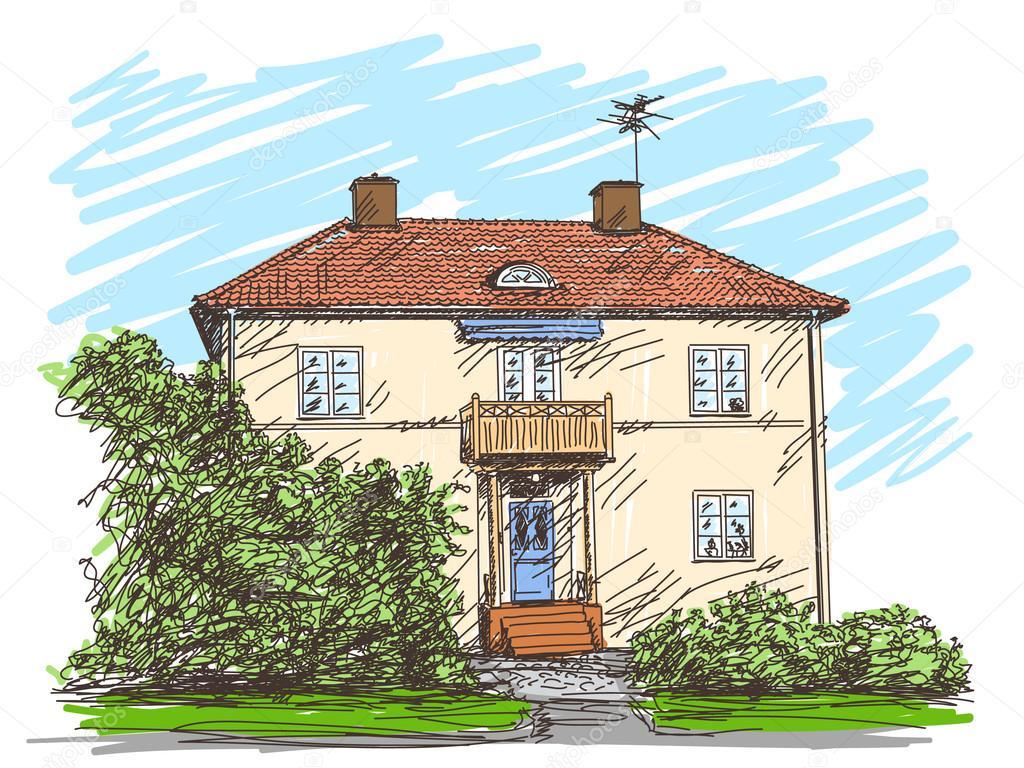 fa ade de maison de deux tages image vectorielle olgatropinina 57141903. Black Bedroom Furniture Sets. Home Design Ideas