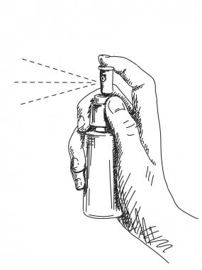 Sketch of hand and spray