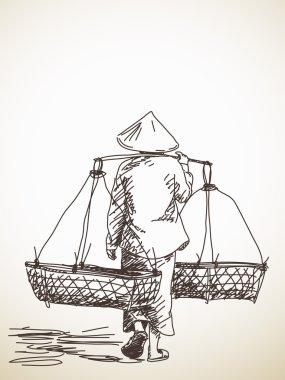 Woman carrying a yoke