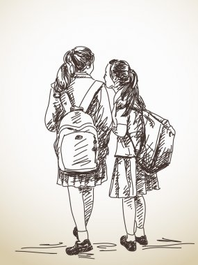 Hand drawn two schoolgirls friends
