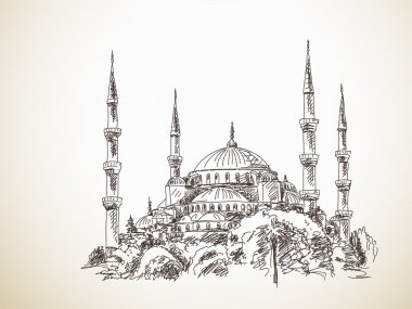 Hand drawn sketch of Blue Mosque