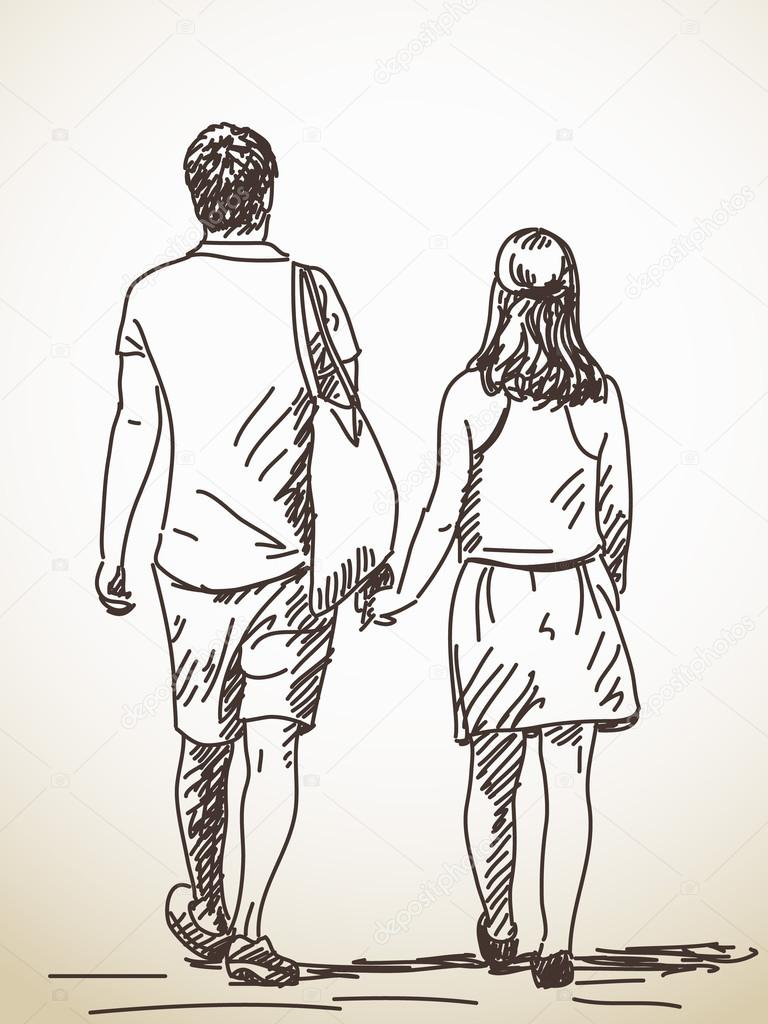 Walking couple sketch stock vector