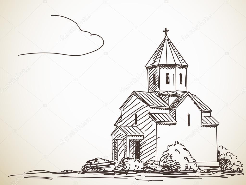 Skizze der orthodoxen Kirche — Stockvektor © OlgaTropinina #90474816