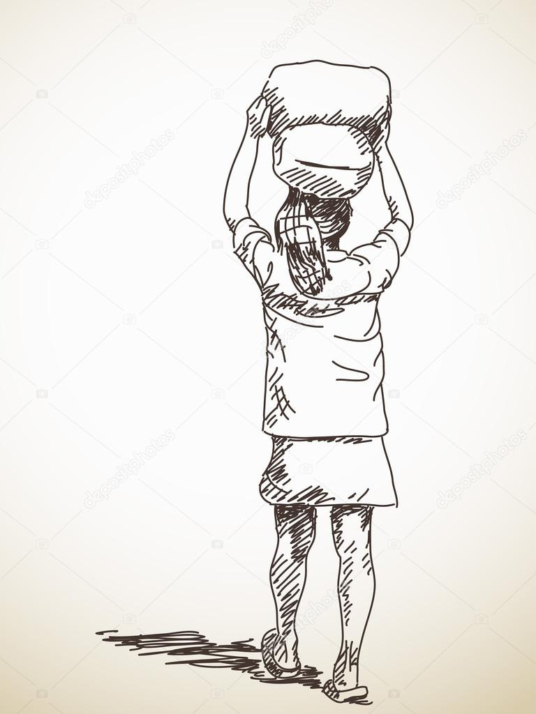 Man Carrying Bags On Head Vector Sketch Hand Drawn Illustration Premium Vector In Adobe Illustrator Ai Ai Format Encapsulated Postscript Eps Eps Format