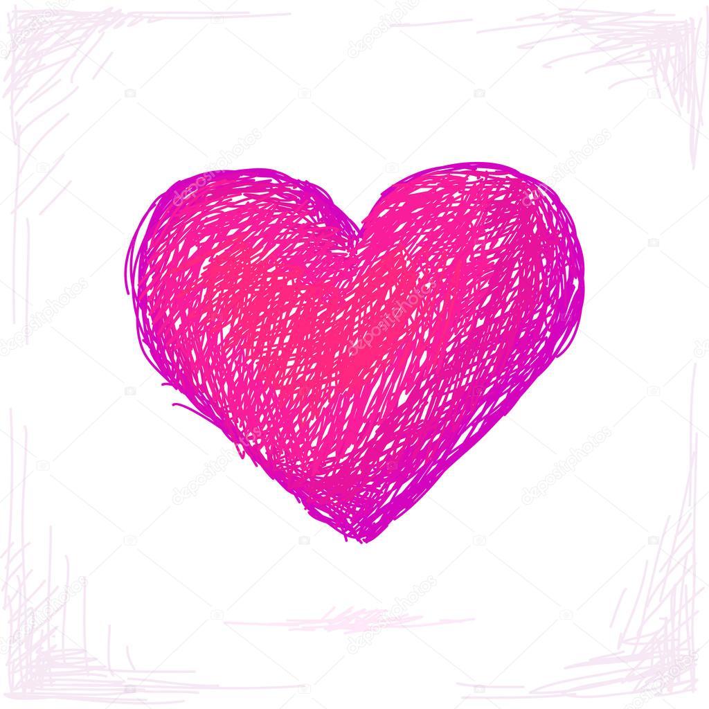 Corazon Dibujo Rosa Dibujo De Corazón De Color Rosa Vector De