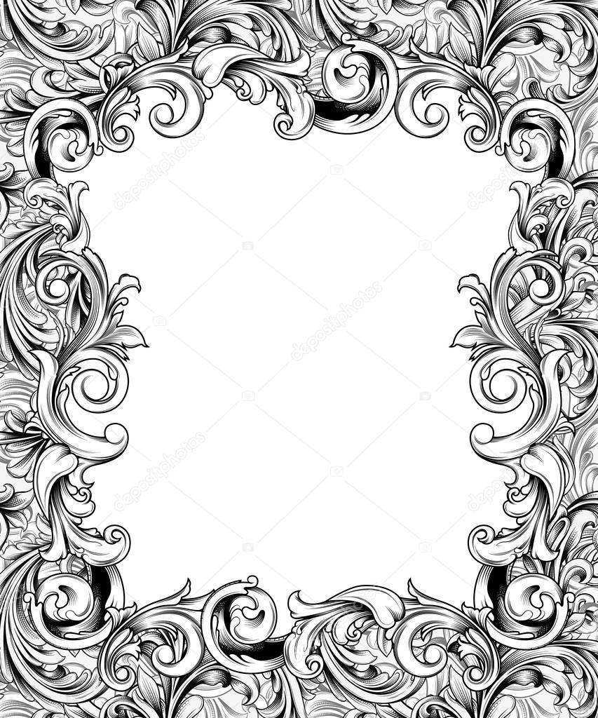 ornate engraved baroque frame stock photo 58017829 - Engraved Frame