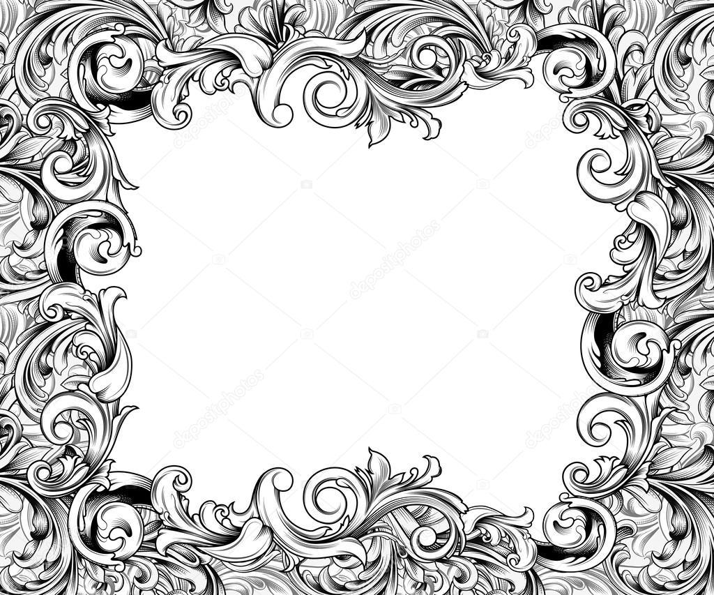 Marco Horizontal barroco tinta dibujo — Foto de stock © ponytail1414 ...