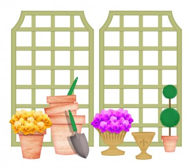 Trellises With Garden Tools and Flower Pots