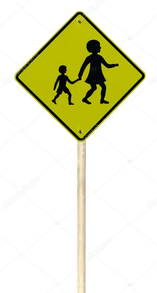 Children crossing roadsign isolated on white background