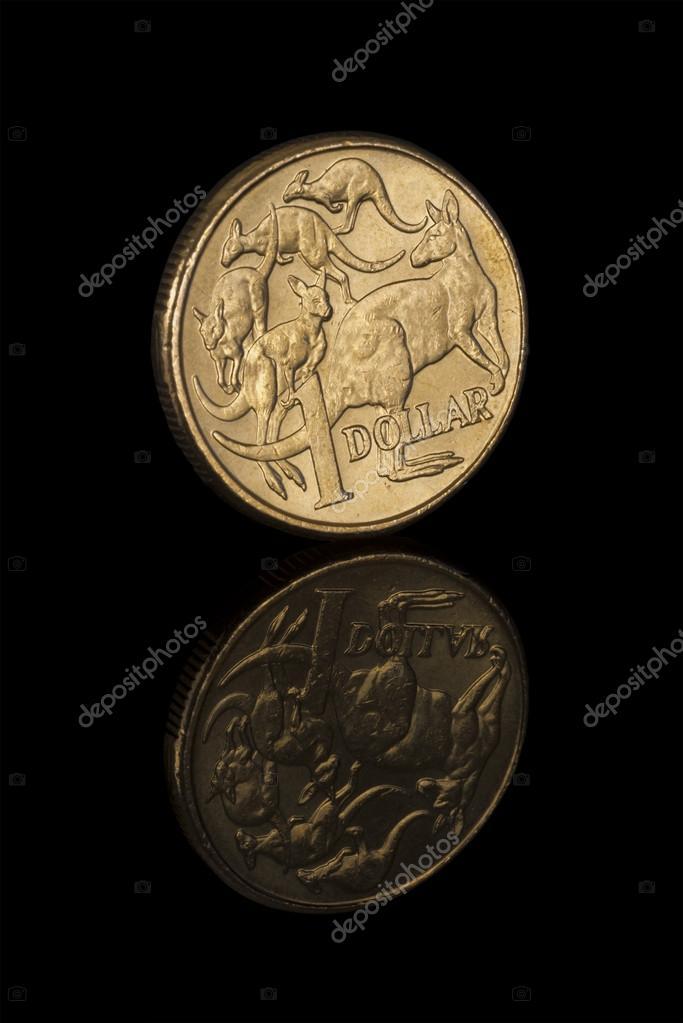 Nahaufnahme Des Australischen Dollar Münze Mit Reflektion