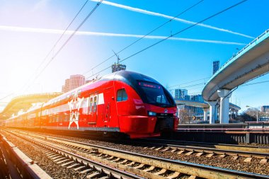 Moscow, Russia - March 24, 2021: Passenger aeroexpress train on the stretch.