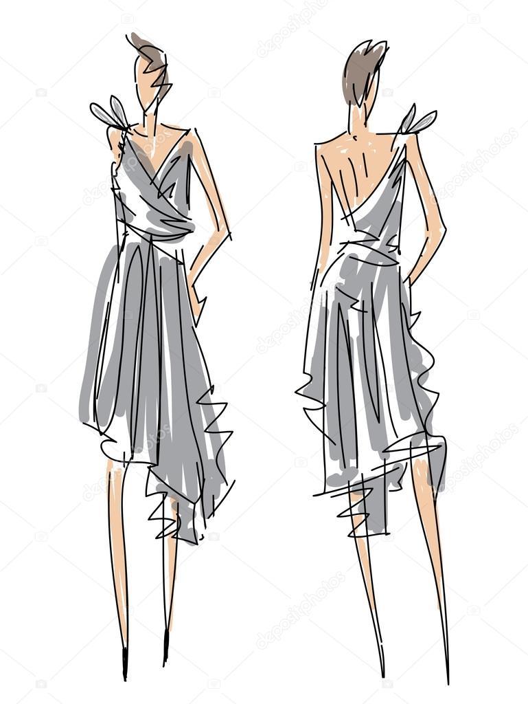 croqui moda poses uma mulher com vestido cinza � vetores