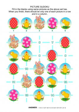 Picture sudoku puzzle, Easter themed