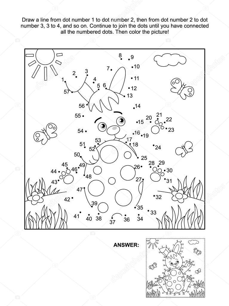 Página de punto a punto y para colorear de conejo y huevo — Archivo ...