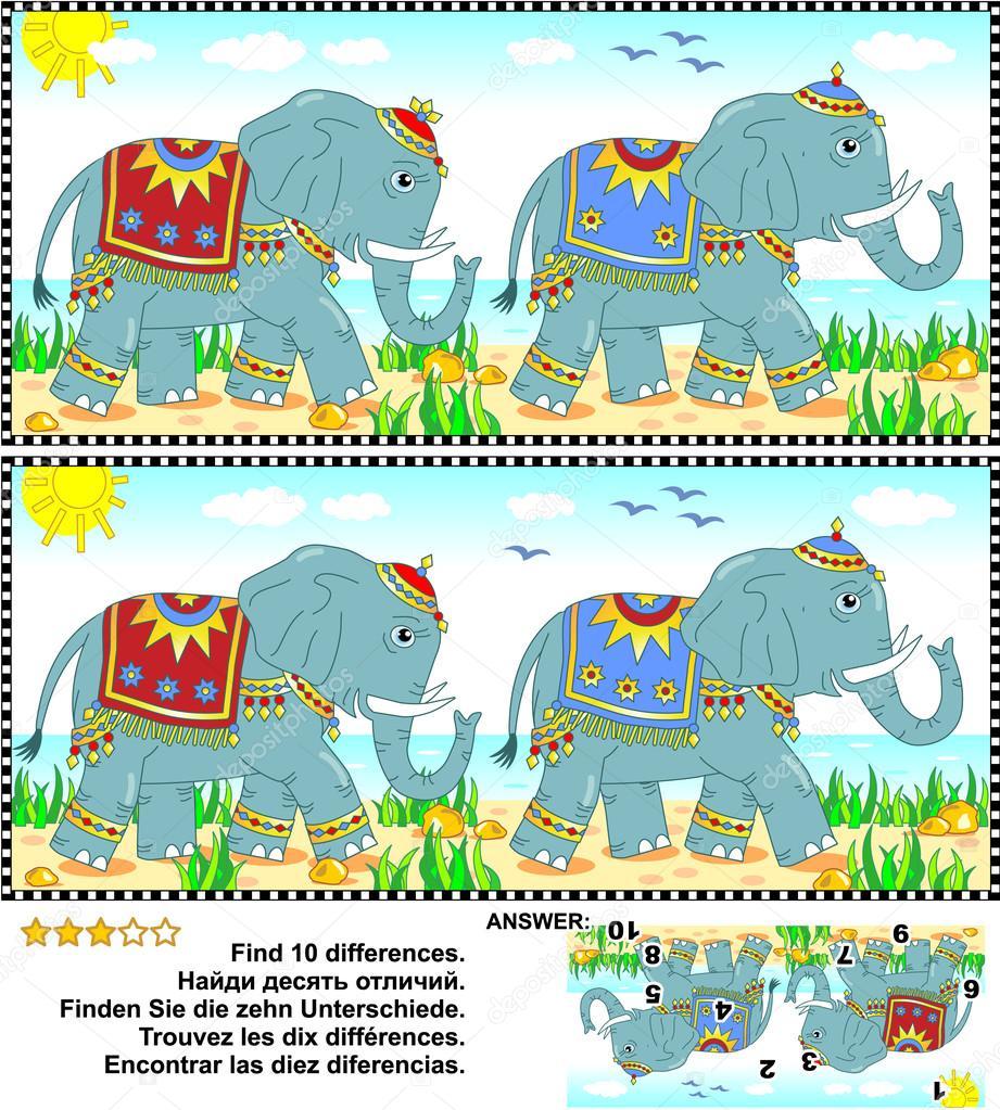 finde die unterschiedebilderr228tsel elefanten