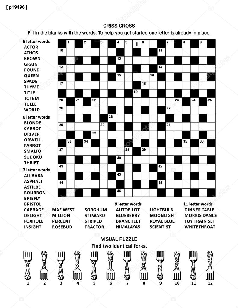 Puzzle page with word game and picture riddle stock vector puzzle page with two puzzles big 19x19 criss cross word game english language and small visual puzzle with forks black and white a4 or letter sized aljukfo Gallery