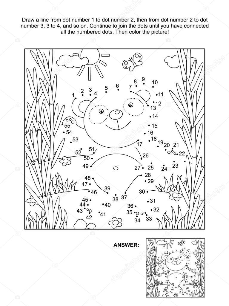 Página de punto a punto y para colorear oso panda — Archivo Imágenes ...