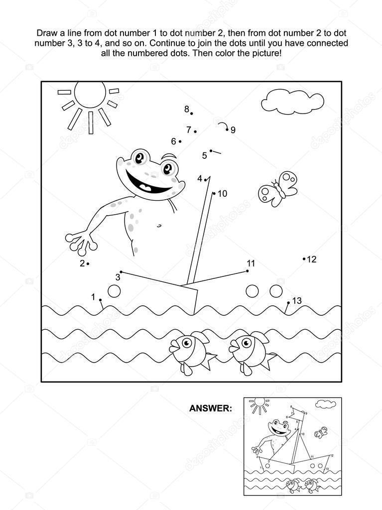 Punkt-zu-Punkt und Färbung Seite mit Boot und Frosch — Stockvektor ...
