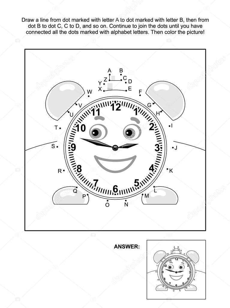 Página de punto a punto y colorear con reloj despertador — Vector de ...