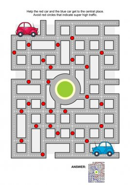 Road maze with red and blue cars