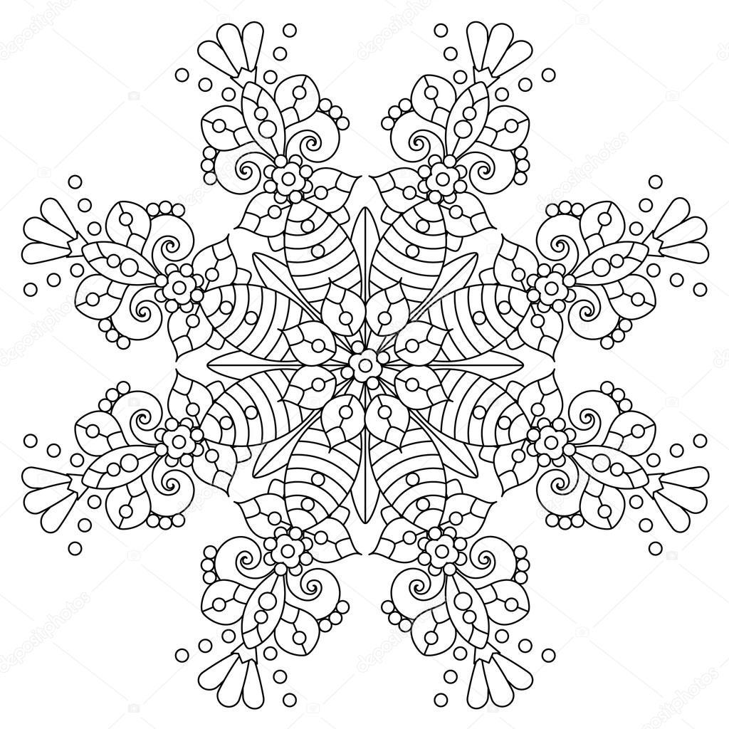 Mandala Veya Kaprisli Kar Tanesi Hat Sanat Tasarım Stok Vektör
