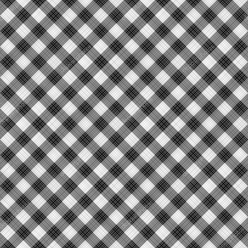 Seamless Black And White Diagonal Gingham Pattern, Or Fabric Cloth U2014 Stock  Vector