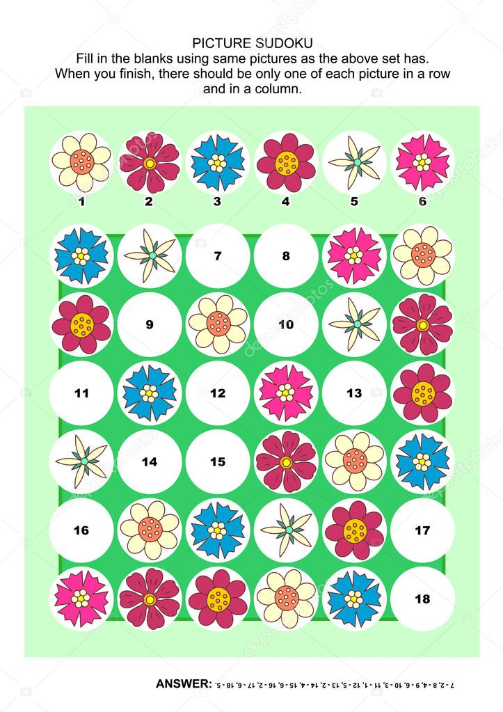 Picture sudoku puzzle with flowers