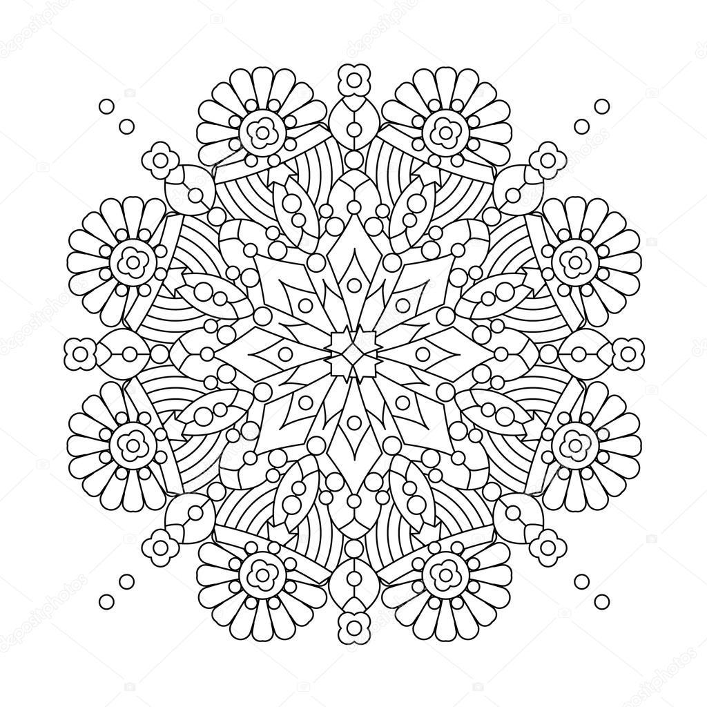 Mandala Or Whimsical Snowflake Line Art Design Stock Vector