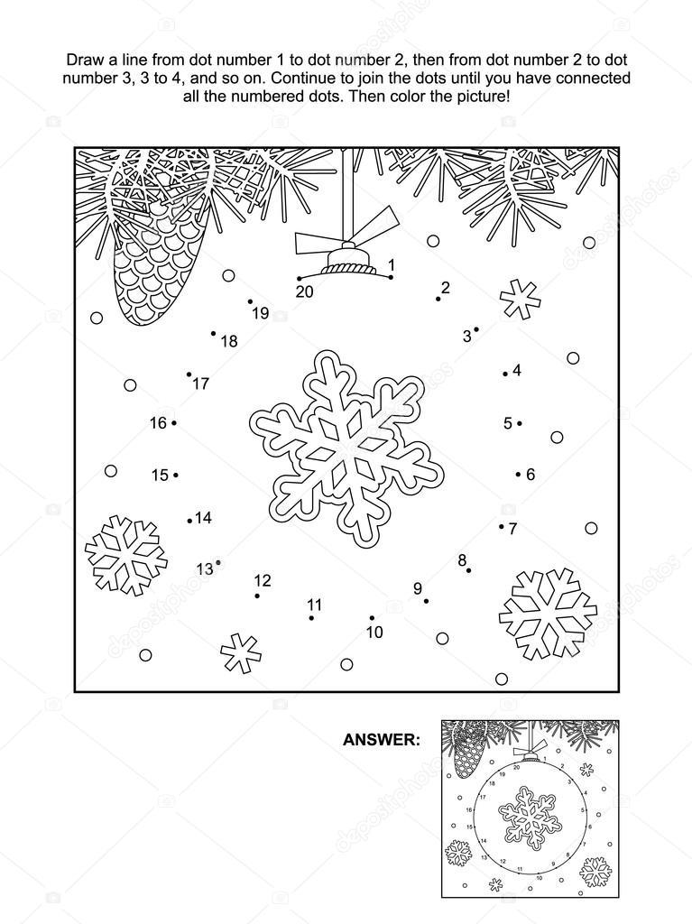 Página de punto a punto y para colorear - Navidad — Vector de stock ...