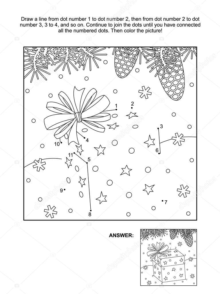 Página de punto a punto y para colorear - caja de regalo de Navidad ...