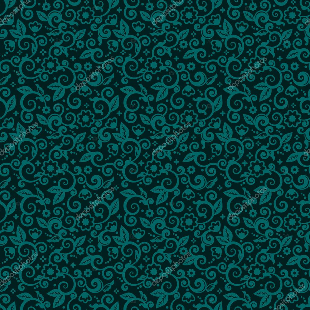 Seamless Swirly Floral Background Of Dark Turquoise Winter