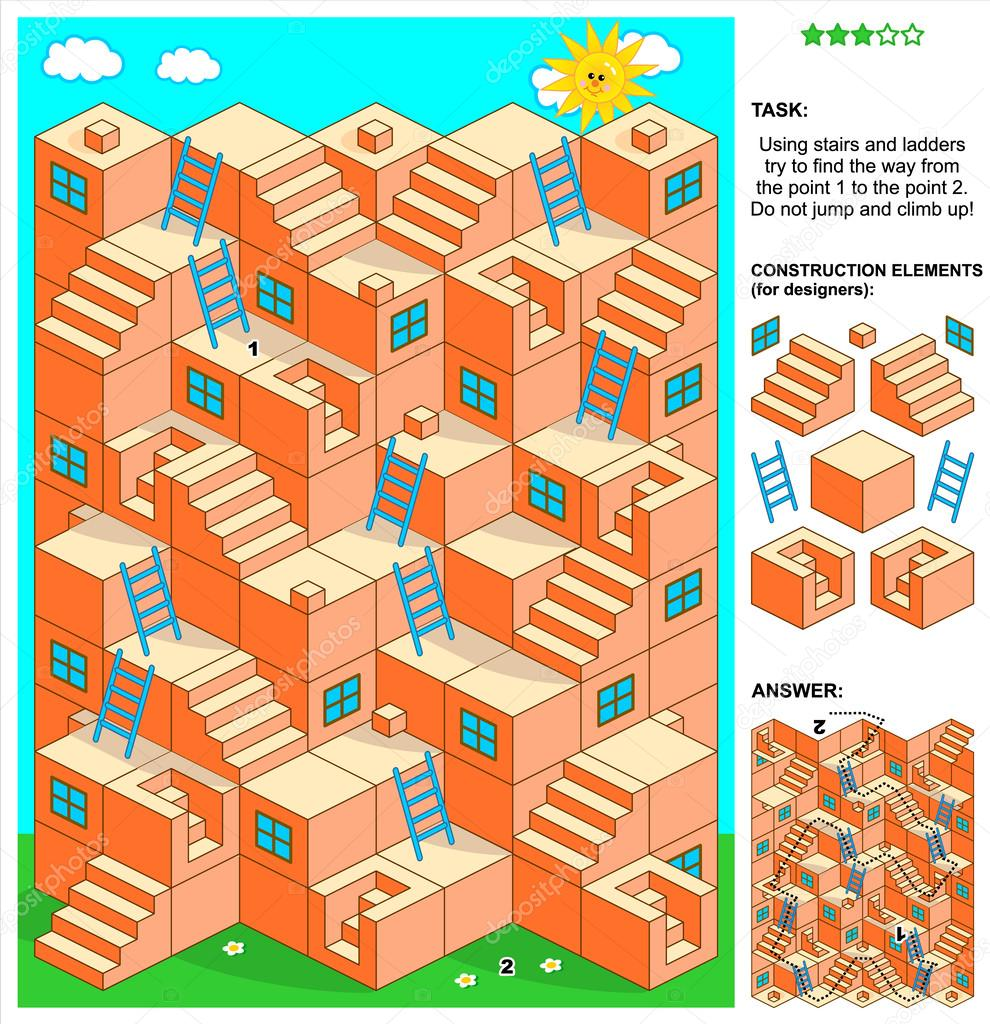 Juego De Laberinto 3d Con Escaleras Y Escaleras Archivo Imagenes