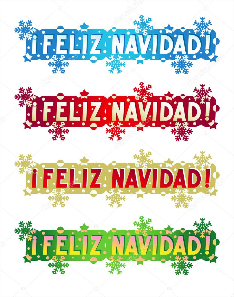Holiday greeting merry christmas in spanish stock vector holiday greeting in spanish language of four color styles design elements for cards banners invitations posters isolated on white background vector m4hsunfo