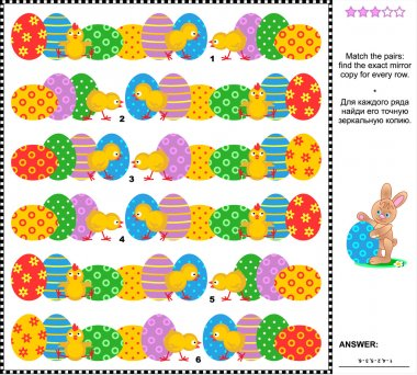 Easter visual riddle with rows of painted eggs and chicks