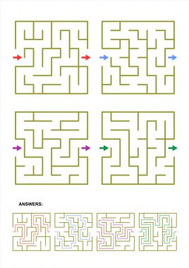 Set of four maze game templates with answers